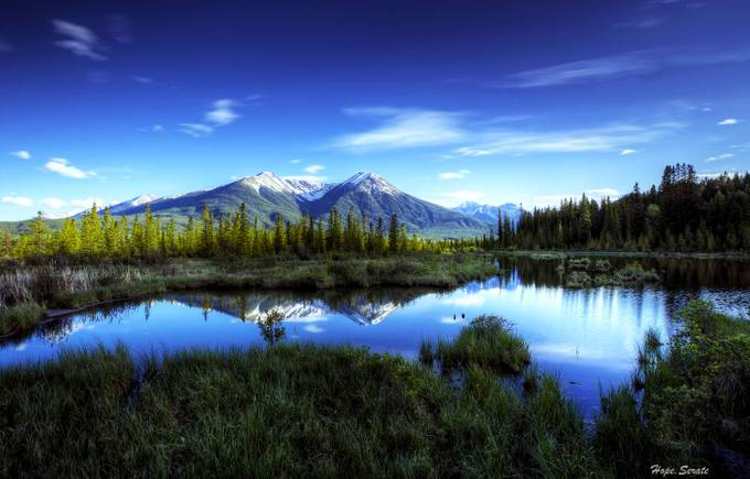 Vermillion Lakes sunset by HopeCharmaine - A World Of Blue Photo Contest