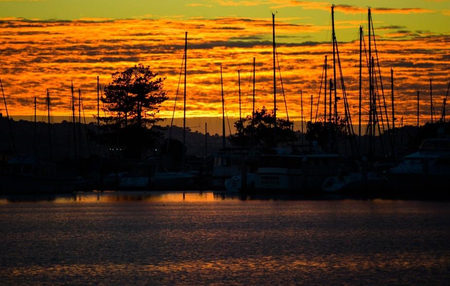 harbor, bay, sunset, dawn, fall,orange