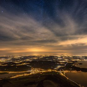 "View from the mount Rigi/Switzerland at about 2 o'clock in the morning. On the right side the lake ""Zugersee"", left a small part o..."