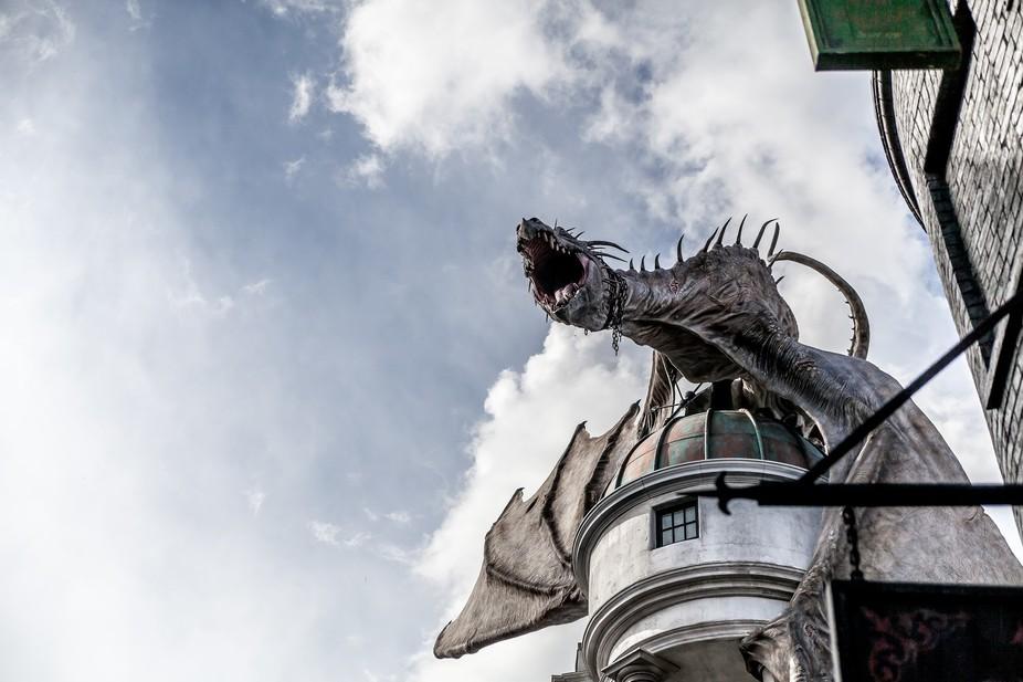 The Dragon sitting atop Gringotts Bank at Universal Studios Orlando
