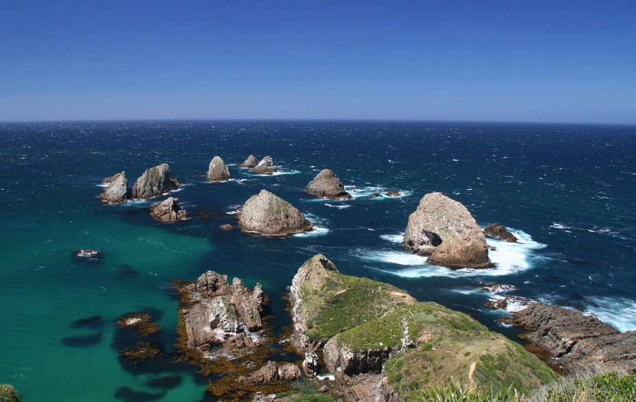 A warm January day at Nugget Point. A wild and windy spot in the Catlins on the rugged South East...