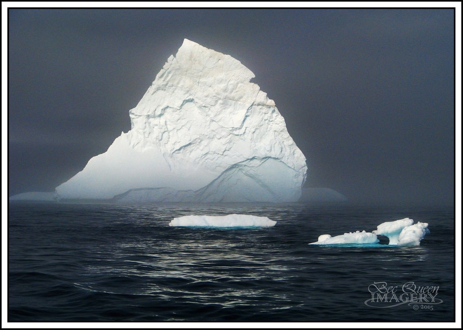 While sailing the east coast of Greenland, icebergs here there and everywhere.
