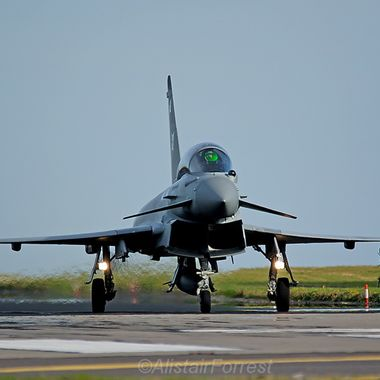 RAF Typhoon FGR4 rolls off after sortie