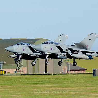 Two RAF Tornado GR4s take off in unison