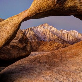 Mount Whitney viewed through the Mobius Arch, Alabama Hills, CA