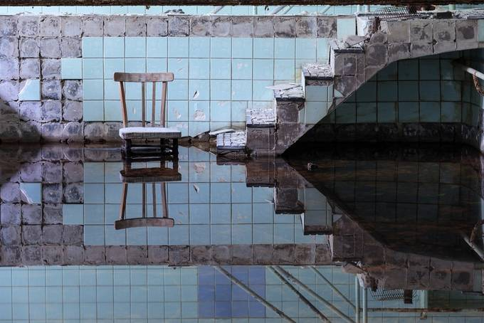 Abandoned Swimming Pool by Helen_Mountaniol - Composing with Diagonals Photo Contest