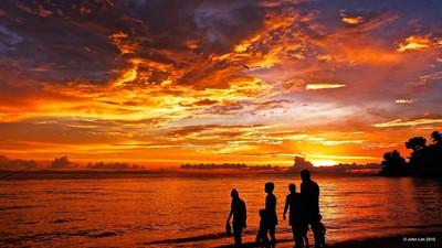 Fiery Sunset at Lombok Beach, Indonesia.