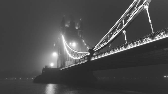 Foggy Tower Bridge by byrnephotography - Black And White Architecture Photo Contest