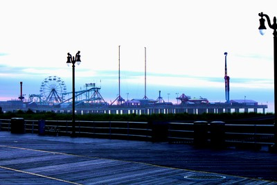 Steel Pier In The Morning Mist