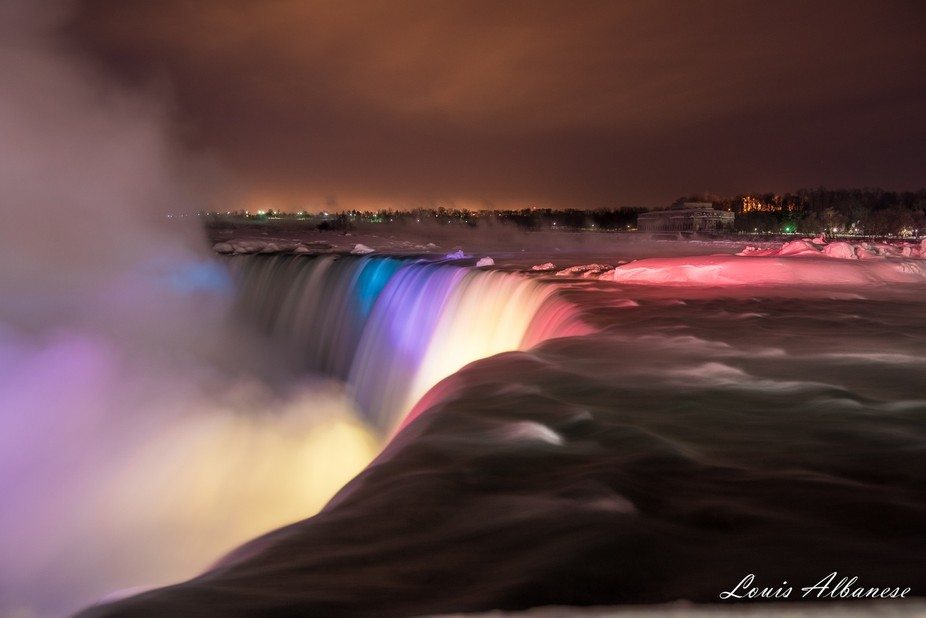 The Canadian Horseshoe Falls on a very cold (minus 28C) night.  Niagara Falls,Ontario Canada