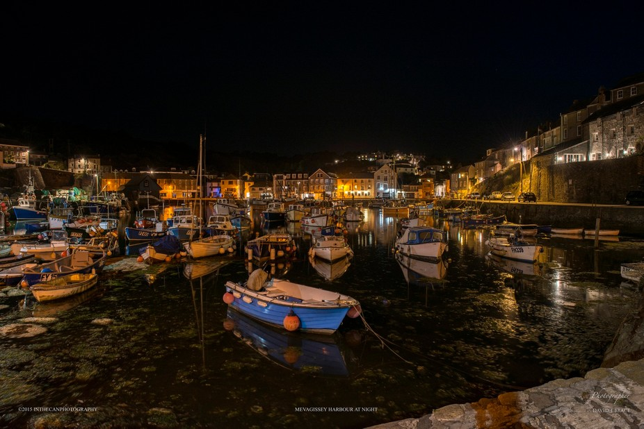 Mevagissey at night showing the magic of Cornwall.
