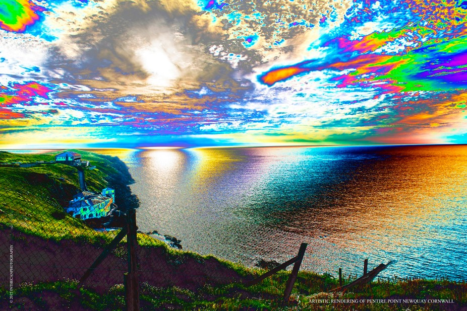 Pentire Point, Newquay in Cornwall, with artistic rendering.