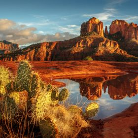 Cathedral Rock reflections in Sedona, Arizona.