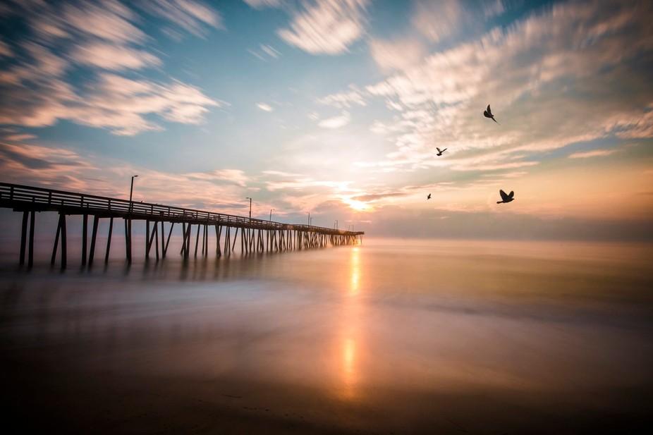 Long exposure of the sunrise over VA Beach
