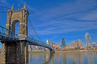 Roebling Bridge and Cincinnati Skyline