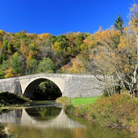 Bridge crossing the Casselman River on the National Turnpike constructed in 1811.  The National Road (Cumberland Road) was the first major improv...