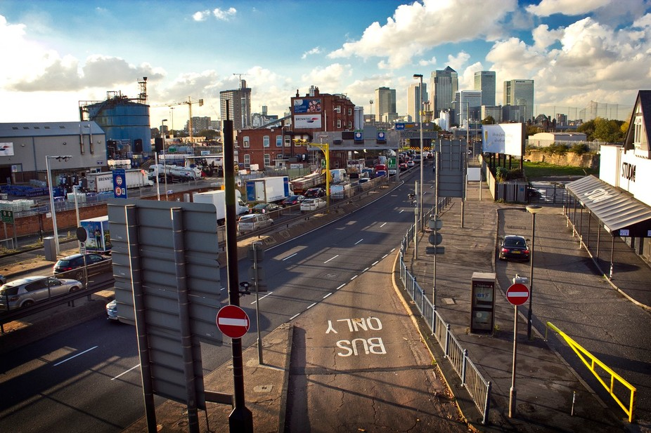 Blackwall Tunnel approach with a view to Canary Wharf, London