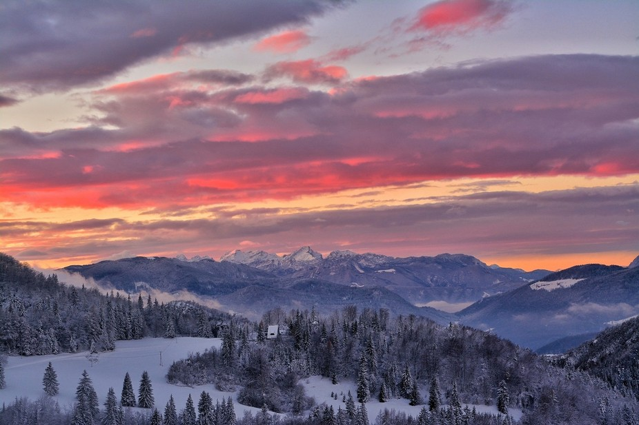 first snow of the season with an epic sunset.