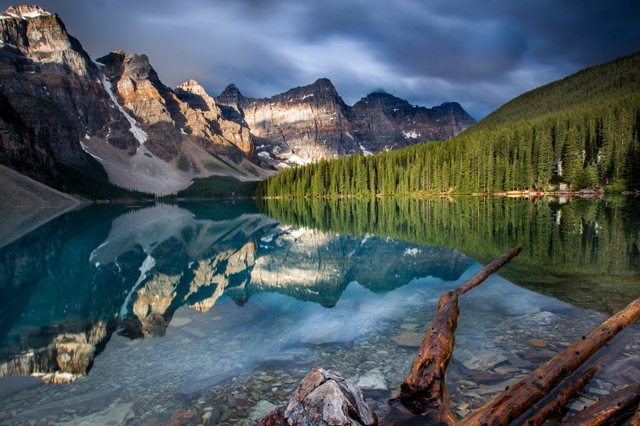 Sunrise at Moraine Lake in Banff National Park, Alberta, Canada. Long exposure with Lee Filters.