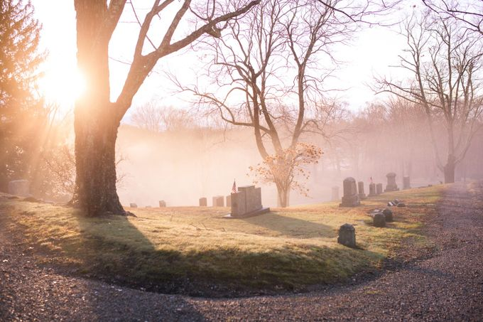 Cemetery sunrise by JoAnnCVPhotography