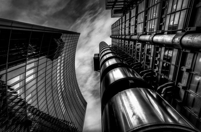 Architecture lloyds Building london by karlredshaw - Structures in Black and White Photo Contest
