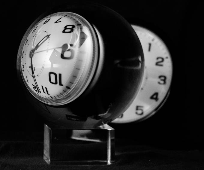 BW  Clock Reflection in Glass Ball by quincyfloyd - Composing With Circles Photo Contest