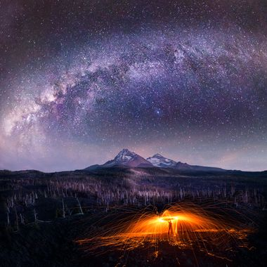 "The two mountains in three sister mountains, Oregon, USA.  Nature illuminated with natural and made made light!  Help prevent light pollution and you can see the ""BeAuTy Of ThE NiGhT!""  Copyright Notice: ALL IMAGES on this web site are protected by the U.S. and international copyright laws, all rights reserved. The image may not copied, reproduced, manipulated, or used in any way, without written permission of Jelieta Walinski Ph.D, & Walinski's Inner Vision Photography a licensed owner. Any unauthorized usage will be prosecuted to the full extent of US Copyright Law.  Ang larawan na ito ay copyrighted kaya huwag mag-atubiling kopyahin, o ""mag-screenshot"", huwag imanipula, at aangkinin.Alalahanin na araw-araw ko minomonitor ang mga larawan mo..   'STEALING IS A CRIME!"""