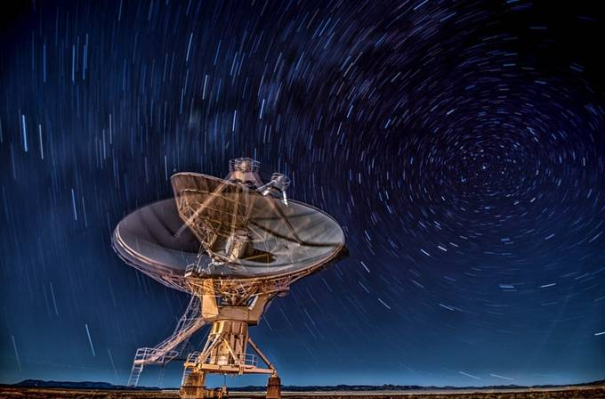 Nightime shot at the VLA Radio Observatory in New Mexico by brentmorris - Capture Motion Blur Photo Contest