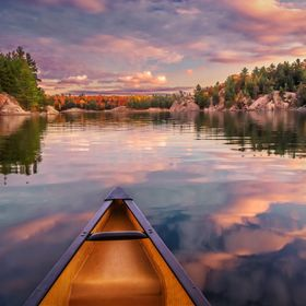 An incredible sunset moment, as we paddled George Lake on our last evening in Killarney Provincial Park, Ontario.