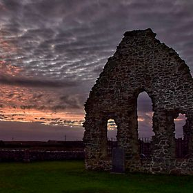 Sunset over St mary's old church Aberdeenshire Scotland