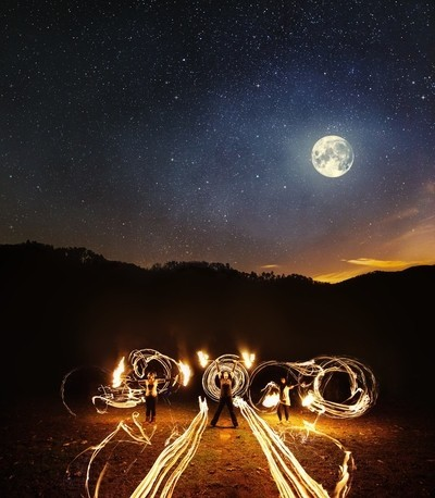 Fire Dancing Under the Full Moon