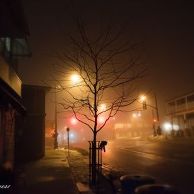 A foggy December night in small town Fonthill,Ontario Canada.