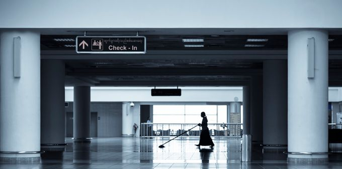 Alone at the airport by bendikstalheim - People In The City Photo Contest