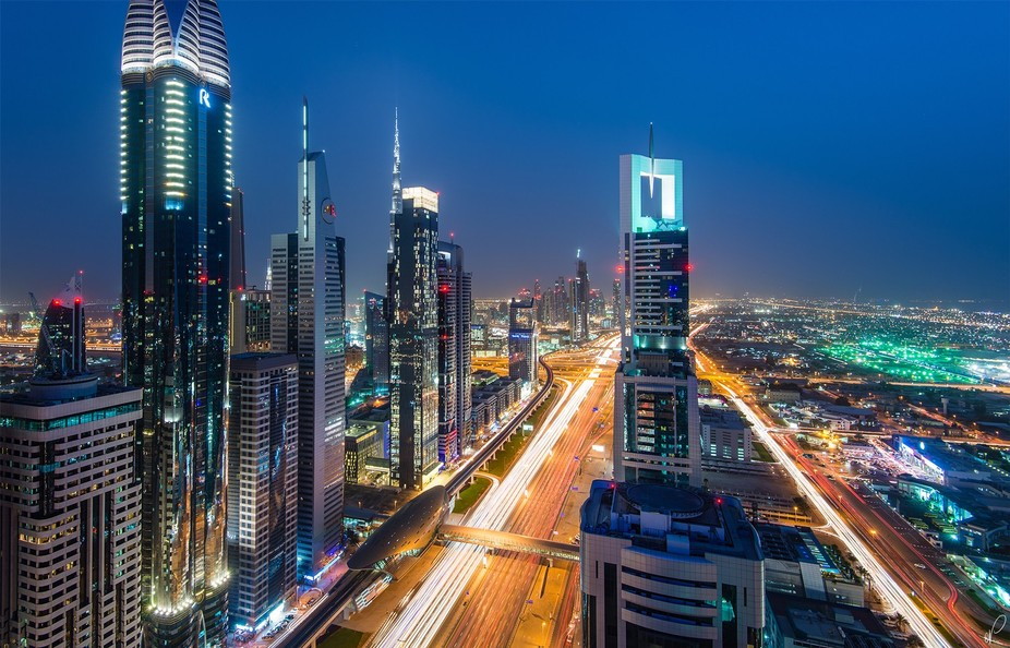 A futuristic skyline electrified on the bloodline of Dubai. It was a dusty day, which isn&#03...