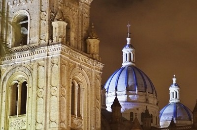 Blue Domes of the Cathedral in the Night Sky