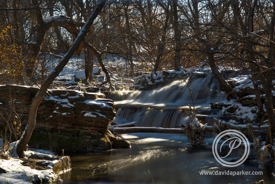 A fresh coating of snow covers the upper falls on Mound Creek.