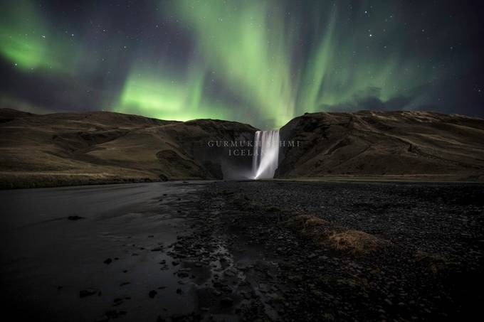 Skogafoss Torch and lights by Prive - Iceland The Beautiful Photo Contest