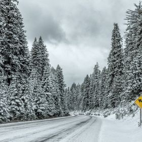 Snow covered road, driving through Klamath Falls, Or.