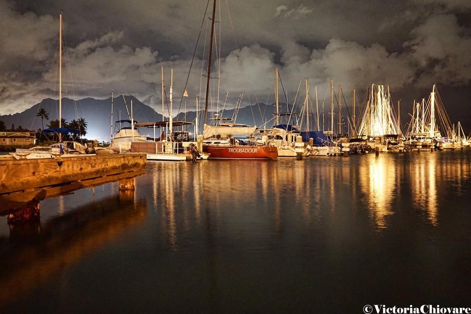 Shot of Kaneohe Yacht Club at night celebrating life.
