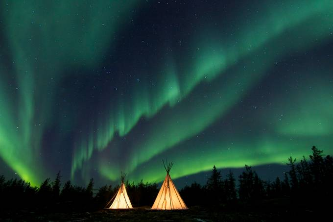 Aurora curtain over the Teepee by polaris - Night Wonders Photo Contest
