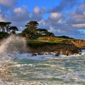 King Tide breakers greet the coastline on the 17 Mile Drive in Pebble Beach at Cypress Point..