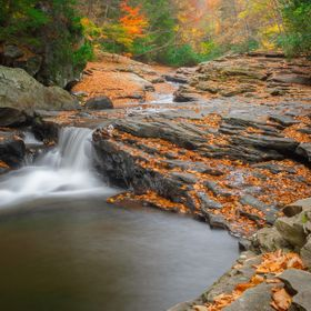 Cascades along Meadow Run in Pennsylvania's Ohiopyle State Park in October of 2015