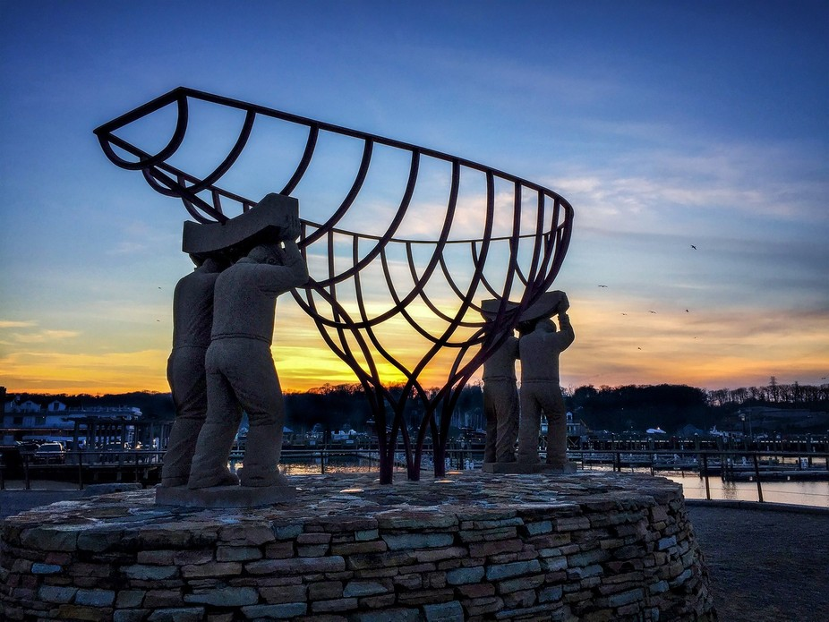 Port Jefferson Statue at Sunset