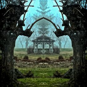 This is actually a juxtaposition of an image with a mirror image.  Looks kind of medieval to me.  Took it through a heavy early December mist tha...