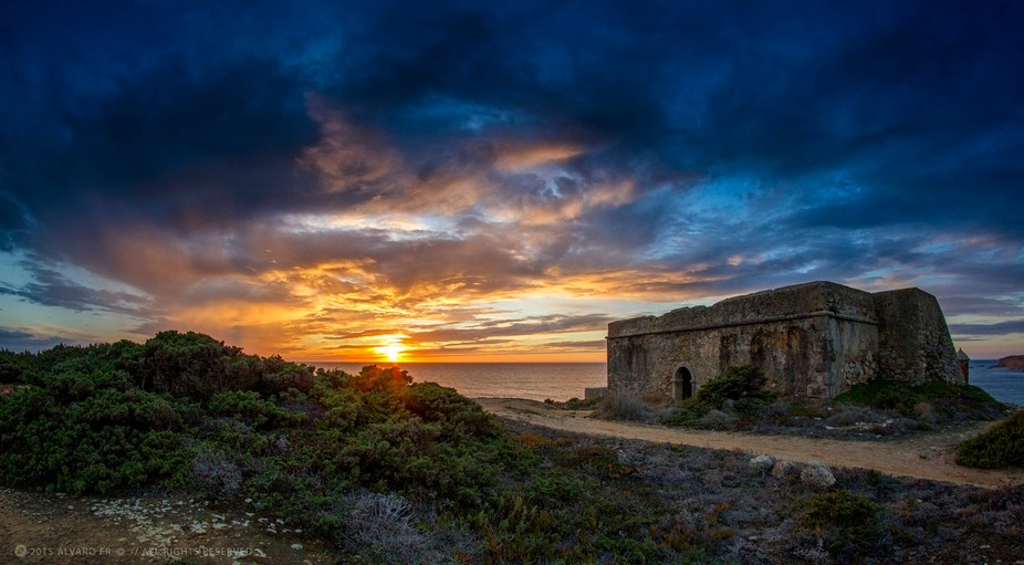 Milreu Fort in Ericeira, Portugal.  It is the last remnant of the few forts erected at the time o...