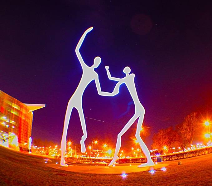 This is a sculpture located by the Denver Center of Performing Arts, my goal was to take a shot and try to expose some of the stars behind them some of my other pictures were a little bit more successful but this one is good none the less.