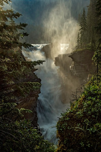 Athabasca Falls in the morning