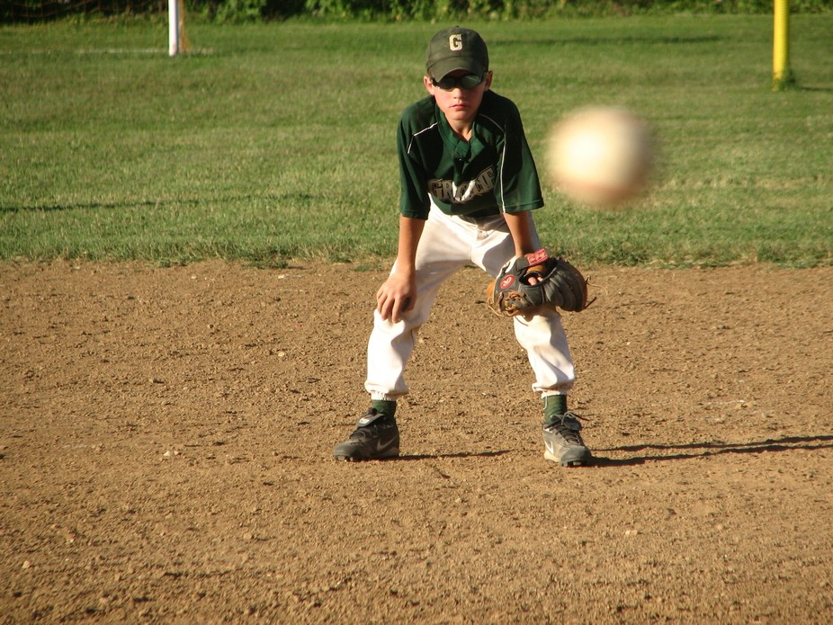 Grandson's playing 1st base on the Grizzley baseball team. Took the photo as the basebal...