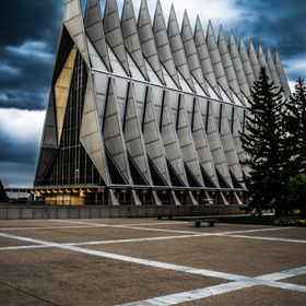 This was shot right as a a storm was coming over the Air Force Academy's Chapel.  The clouds just broke to allow the sun to shine through so...
