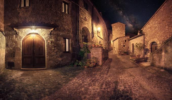 Medieval town Sorano street at night by khoroshkov - Resource Travel Inspiration Photo Contest vol2